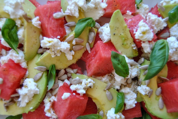 watermelon ricotta avocado salad the food boy4
