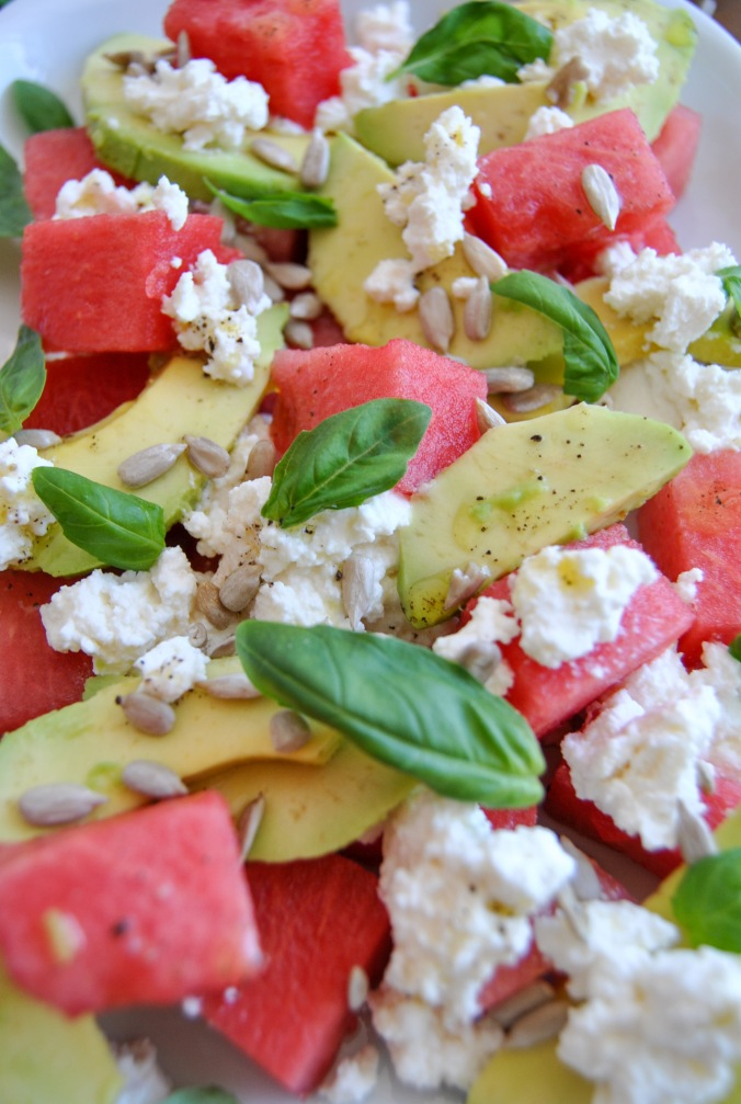 watermelon ricotta avocado salad the food boy5